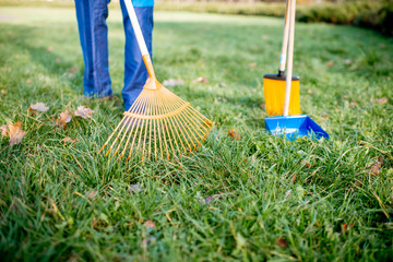 Man sweeping leaves with orange rake on the green lawn, close-up view with no face