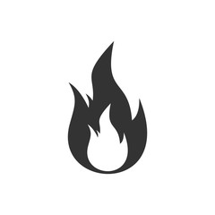 Fire. Black Icon Flat on white background