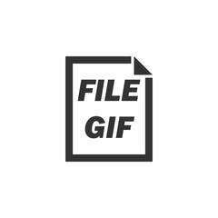 GIF File. Black Icon Flat on white background