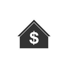 Dollar House. Black Icon Flat on white background