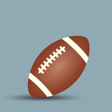 Rugby or Football ball with white stripes and stitches