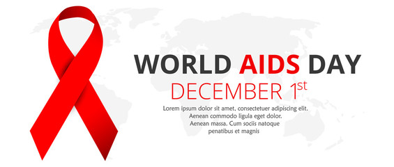 world aids day. red ribbon. december 1. vector