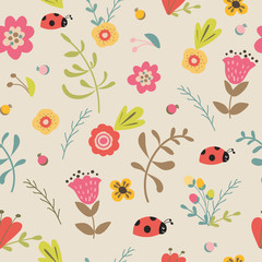 Floral seamless pattern hand drawn summer spring pastel garden background Meadow flowers