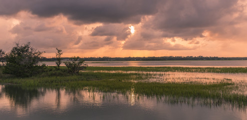 Pinckney Island, South Carolina, USA - July 23, 2018: Sunset on Pinckney Island, a small nature reserve in South Carolina