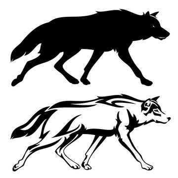 running wolf black vector outline and silhouette design