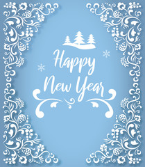 Blue Happy New Year greeting card with white ornament.