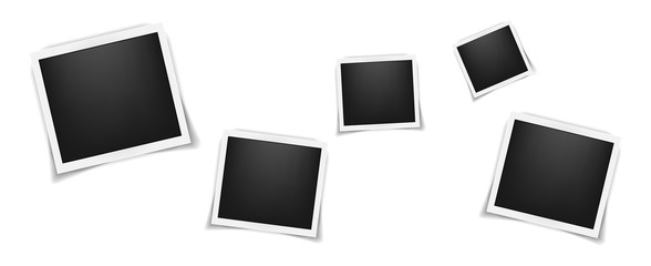 Square realistic frames template with shadows isolated on white background. Vector illustration