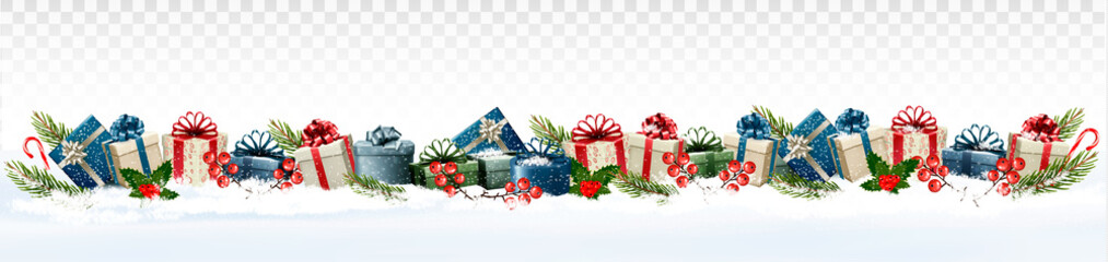 Holiday Christmas panorama with colorful gift boxes and branch of tree on transparent background. Vector.