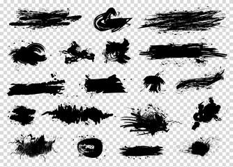 Black ink splash spots big set isolated on transparent background. Art brushes pack. Vector illustration