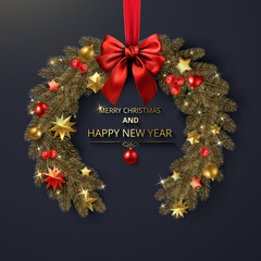 Merry Christmas and Happy New Year greeting card with Christmas wreath.