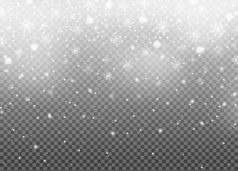 Realistic falling snow isolated on transparent background. Winter sky pattern. White snowfall texture. New year and Xmas concept. Snowflake effect. Vector illustration