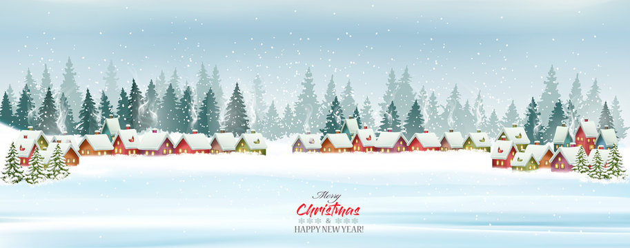 Holiday Christmas background with Santa Hat and a gift boxe. Vector