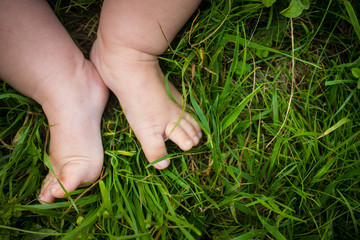 Baby legs in the grass. Crumbs on lawn.