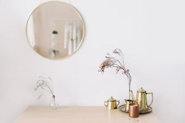 Modern home decor. Creative workspace. Scandinavian minimal  interior.