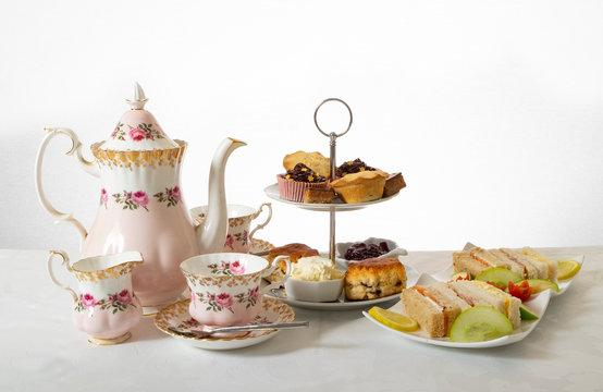 Luxury cream tea with scones and sandwiches