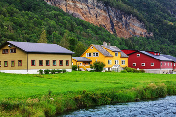 houses by the river, Norway