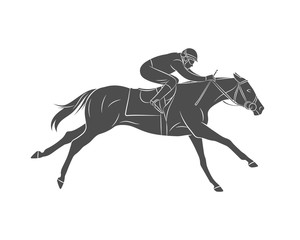 Silhouette racing horse with jockey on a white background