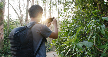 Man take photo on cellphone in the forest under sun flare