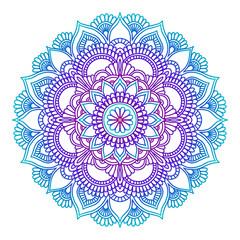 Gradient mandala. Circle ethnic ornament. Hand drawn traditional indian round element. Spiritual meditation yoga henna theme. Unique print. Template for design.