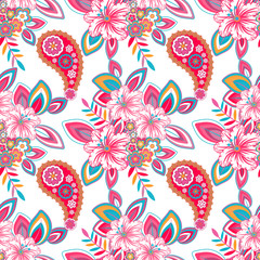 Seamless texture, endless pattern, tribal style ethnic elements paisley and flowers . Vector  traditional  ornament