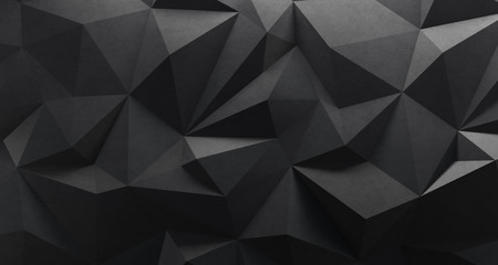 Black low poly background. 3d rendering. Crumpled paper Wall mural