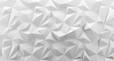 White low poly background texture. 3d rendering.