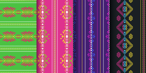Set of Mexican seamless patterns. Cambaya fabric. Ethnic Aztec ornament.