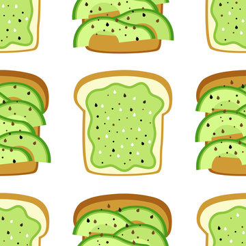 Seamless pattern with perfect avocado toast as bread with slices and sandwich with mixed avocado and sesame seeds