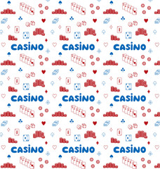 Seamless pattern of casino vector illustration sketch on transparent background