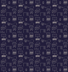 Seamless pattern of office vector illustration sketch colored dark blue