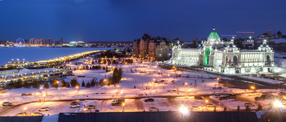 Panorama of Kazan on the Kazanka River view from the Kazan Kremlin in winter 3