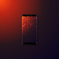 Realistic 3d mobile smartphone with gradient abstract background. Template with explosion effect. Vector illustration.