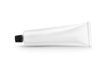 white aluminum toothpaste or cream tube