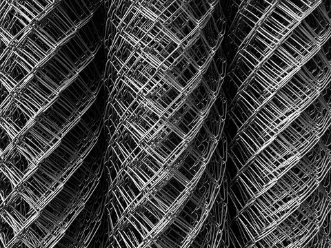 high angle view roll of metal net for background