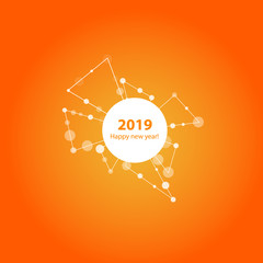 2019 New Year illustration made by points and lines, polygonal wireframe mesh on orange background. Vector.