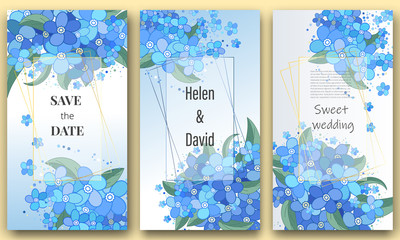 Save the date, Floral Wedding felicitation elegant invite, set, thank you,  greenery,  bouquet, forget-me-not, template , gift certificate, party invitation, congratulation ,flower frame