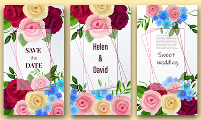 Save the date, Floral Wedding felicitation elegant invite, set, thank you,  greenery,  bouquet, daisy, Rose, template , gift certificate, party invitation, congratulation ,flower frame
