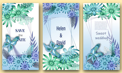 Save the date, Floral Wedding felicitation elegant invite, set, thank you,  greenery,  bouquet,  peonies, template , gift certificate, party invitation, daisies and butterflies. congratulation ,flower