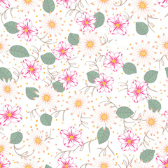 Seamless texture. Multicolor pattern of  flowers daisies and  leaves. Design for cover, wrapper, fabric or embroidery