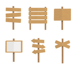 Wooden signboards. Wood arrow sign set. Empty signboard banner isolated on white background. Vector stock.