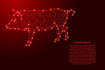 Pig is a symbol of the new year 2019 from futuristic polygonal red lines and glowing stars for banner, poster, greeting card. Vector illustration.
