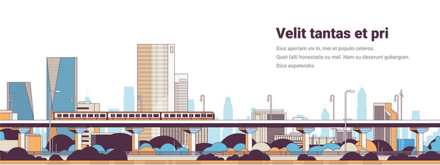 subway train over modern city panorama high skyscrapers cityscape background horizontal banner line copy space