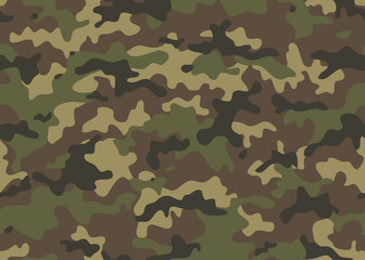 Print Camouflage seamless pattern. Trendy style camo, repeat print. Vector illustration. Khaki texture, military army green hunting
