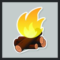 Vector isolated illustration of a burning fire with a tree on a gray background. Bonfire sticker design. Summer camping fire or fireplace with wooden logs. Summer camp label or logo