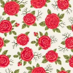 Seamless pattern with roses. Freehand drawing. Can be used on packaging paper, fabric, background for different images, etc.