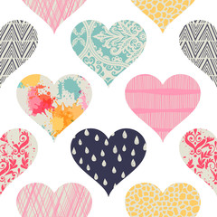 Template seamless pattern with hearts.. Can be used on packaging paper, fabric, background for different images, etc.