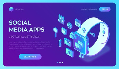 Social media apps on a Smart Watch. Social media 3d isometric icons. Mobile apps. Created For Mobile, Web, Decor, Application. Perfect for web design, banner and presentation. Vector Illustration.