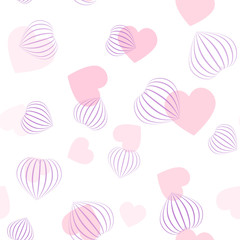 Vector seamless pattern with hearts. Flat and 3d pink hearts. 3d hearts made from stripes.