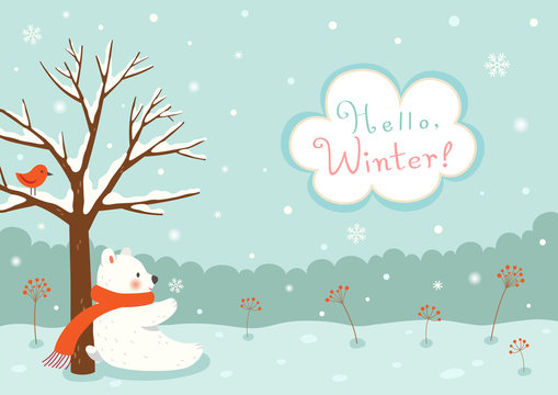 Winter background with white bear and bird