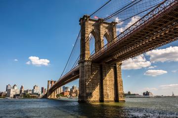 The Summer Sun Setting on New York City's Brooklyn Bridge